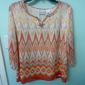 Alfred Dunner 3/4 Sleeve Top size 10